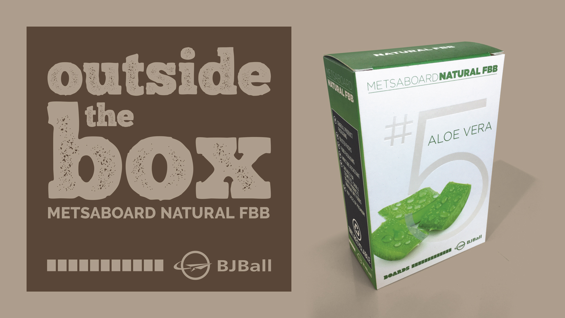 Green & White Metsaboard Natural FBB Carton Example - High End Cosmetic Natural Look