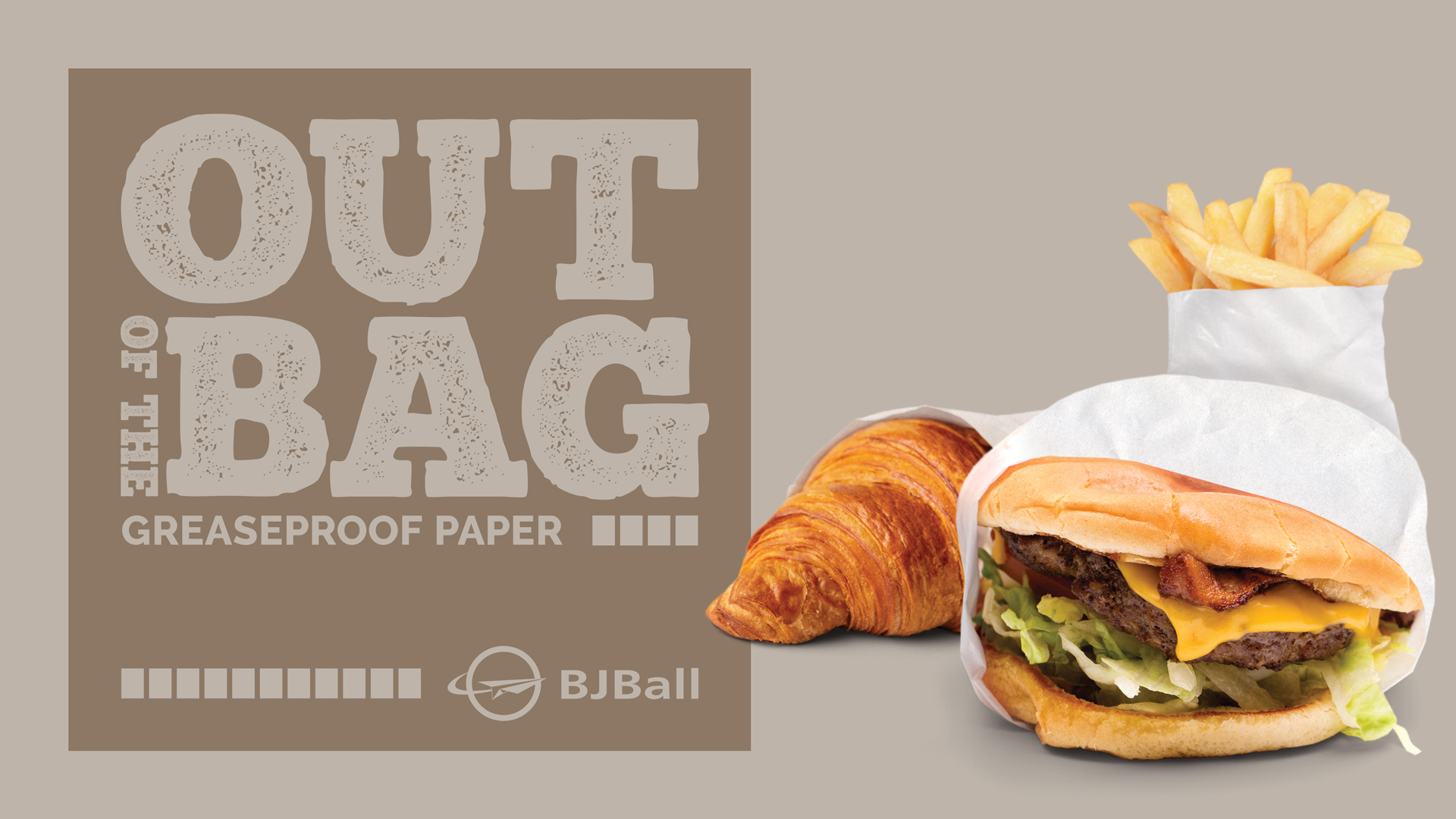 Food wrapped in white grease proof kraft paper