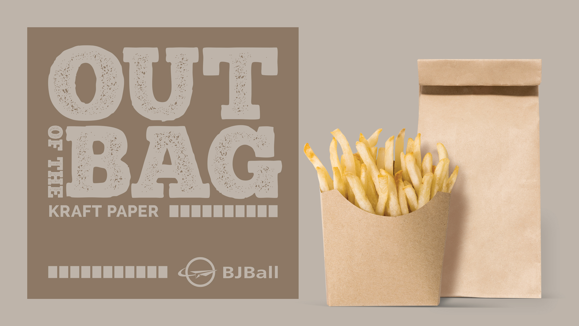 Brown paper bag and brown box of hot chips